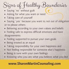 What are Healthy Boundaries? - Sharon Martin, LCSW Counseling San Jose and Campbell, CA - Signs of Healthy Boundaries Article at www. Sharon Martin, Alexandra Martin, What Is Healthy, Affirmations Positives, Def Not, Acupuncture, Healthy Relationships, Healthy Relationship Tips, Work Relationships