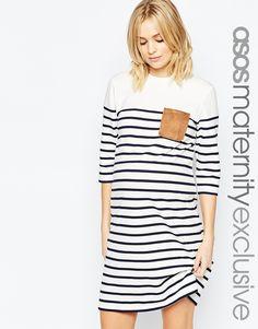 Image 1 ofASOS Maternity Stripe Dress with Suedette Pocket