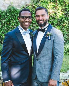 A Boho Wedding on a Private Island in Connecticut | Martha Stewart Weddings - Simon sported a J.Crew Japanese chambray tuxedo and black bow tie, and his groomsmen donned navy tuxedos and blue bow ties from The Black Tux. All of the guys completed their looks with leather-bound boutonnieres.