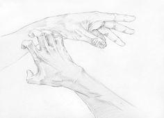 1. 손의 구조를 파악, 선의 강약조절에 주의하며 화면 구성 후 스케치 2. 눕혀서 명암설정. 손의 고유색을 입힌 후 어둠의 명암을 더 강조 손의 뼈대나 근육의 긴장을 표현하되 너무 딱딱하게 표현되지 않도록 주의 앞의 손과 뒤의 손의 원근을 의식하면서 톤 안배 3. 세운선과 짧은선으로 섬세한 부분까지 묘사+착색 앞의 손과 뒤의 손의 원근 연출 (뒤의 손은 검은색이 들지 않도록 조심) 4. 마무리 대구, 화실, 소묘, 드..