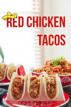 Red Chicken Tacos gets its name from the red spices and tomatoes used to cook the tenderest chicken you can imagine. All of this in 1 crockpot! Red Chicken, Chicken Tacos, Red Spice, Soft Tacos, Spanish Rice, Monterey Jack Cheese, Refried Beans, Chicken Tenders, Crockpot Recipes