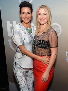 Star Tracks: Thursday, May 15, 2014 | HIP TO IT | Rizzoli & Isles star Angie Harmon gives a hug to Legends pal Ali Larter backstage at the TNT and TBS upfront presentations in N.Y.C., where the two promoted their TV shows on Wednesday.
