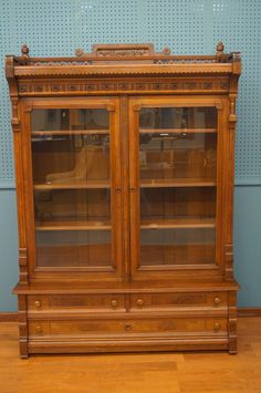 Mid 1800 S Eastlake Period 2 Piece Walnut Bookcase With Burled Accents