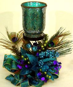 Peacock Passion Floral Flower Arrangement by cabincovecreations