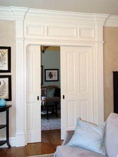 pocket door and molding.