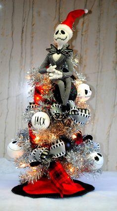 jack skellington nightmare before christmas tree lighted with custom jack ornaments and sewn tree skirt by - Halloween Tree Ornaments