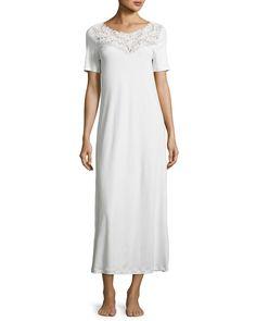 Frida Short-Sleeve Long Nightgown