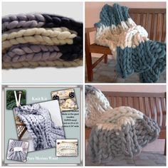 2 Color KNIT KIT,  NEW! Chunky Blanket,Needles,4# Chunky Yarn, Tutorial, Patterns,