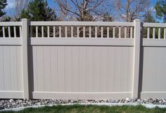If there are color options available, this fence would be a nice option for providing privacy to a craftsman style home. A fence will be vital with Juniper. Craftsman Style Home, House Design, Outdoor Space, Deck Designs Backyard, House Front, Fence Design, Front Garden, House Exterior, Vinyl Fence