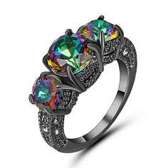 beautiful Vintage Rainbow topaz Wedding Ring 10KT Black Gold Filled Size 8   eBay