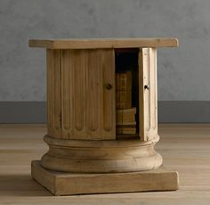 ARCHITECTURAL COLUMN SALVAGED WOOD SIDE TABLE