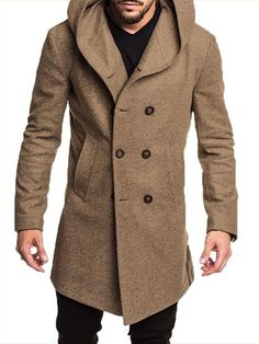 ZOGAA Mens Trench Coat Long Wool Overcoat Doublebreasted Autumn Hooded Coat Men Windbreaker Casual Jacket Men Outwear Size S Color Black Hooded Trench Coat, Long Trench Coat, Trench Jacket, Men's Jacket, Windbreaker Jacket, Man's Overcoat, Double Breasted Coat, Single Breasted, Pullover