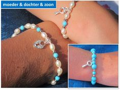 Moeder & dochter & zoon armbanden 'Turquoise Key to my Heart'