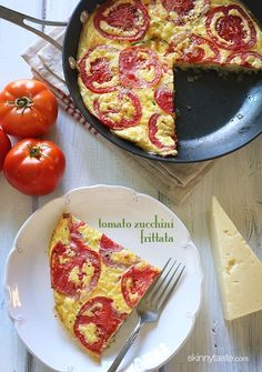Tomato and Zucchini Frittata Skinnytaste.com 2 tsp olive oil 1 medium onion, diced 1-1/2 cups (7 oz) zucchini, diced into matchsticks 4 large eggs 4 large egg whites 1/4 cup Asiago cheese, grated salt and fresh pepper 2 medium (about 8 oz) vine ripe tomatoes, cored and thinly sliced crosswise