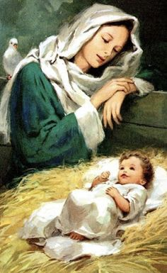 Vintage Mary and Baby Jesus in Blue Fabric Block - Great for Quilting, Pillows & Wall Art - Buy Get 1 FREE