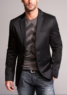 ♂ Masculine and Elegant man's fashion wear, dark suit jacket, neutral blue jean and neutral T-shirt. classy and casual