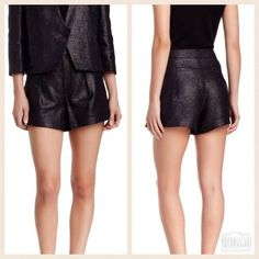 Helmut Lang Shorts New Helmut Lang Shy Shorts.  Size 6.  Color:  Old Silver.  Metallic sheen, zip front, spare button, front pleats, faux front pockets.  73% cotton 25% nylon 2% polyurethane.  95% polyester 2% spandex lining.  No trades/no PayPal. Helmut Lang Shorts
