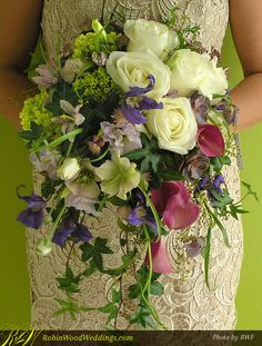 Natural Style Cascading Wedding Bouquet #weddingbouquet #pinkcallas #purpleweddingflowers