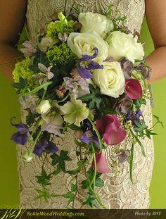 Natural Style Cascading Wedding Bouquet #weddingbouquet #pinkcallas #purpleweddingflowers