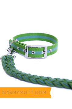 Kiss My Mutt® Mix + Match: SeaGrass Multi-Stripe Collar + Central Park Two-Toned Braided Leash. www.kissmymutt.com