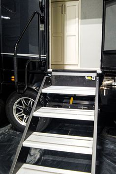 Step Above stairs offer extra security going in and out of the fifth wheel. Fifth Wheel Living, Luxury Fifth Wheel, Luxury Rv, Rv Living, Stairs, Design, Stairway, Staircases