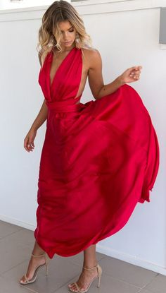 long prom dress, boho prom dress, red prom dress, sexy formal evening dress
