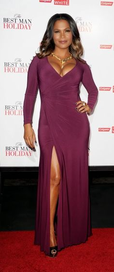 Fashion And Whatever I Like: Nia Long Was Looking Fierce At The Best Man Holiday Premiere In L.A.......Rocking A Long-Sleeve Berry Hued Draped Dress With A High Front-Slit With Metallic Peep-Toe Pumps.......Nia Was Showing Major Cleavage While Looking Super Hot.....Love Her Hair....Hot Look For Nia......Nia Accessorized Her Look With A Gold Snake Necklace With Stones.....