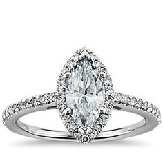 Marquise Cut Halo Diamond Engagement Ring in Platinum