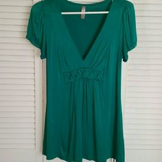 Dark teal top from Nordstrom Banded at waist with cute braid detail, flowy and flattering Lush Tops Tees - Short Sleeve