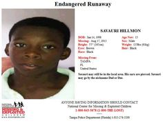 Endangered Runaway: SAVAURI HILLMON, 15, was last seen in Tampa, Florida on 8/17/2013.