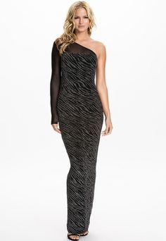 eadc82231d37 Sexy Glistening Asymmetric Mesh Sleeve Evening Maxi Dress Aftenkjoler