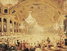 Eugene Emmanuel Viollet-le-Duc Premium Thick-Wrap Canvas Wall Art Print entitled Dinner at the Tuileries (oil on canvas)