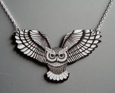 Swooping Owl in Black and White Necklace by theringleader on Etsy, $19.95