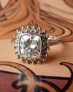 Antique Square Moissanite and Champagne Diamond Halo Ring