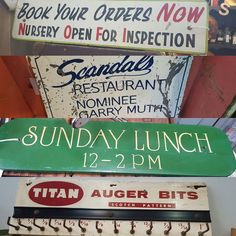 Vintage signs. Some wooden some metal and some handpainted. Titan sign could be repurposed into a keyrack. Great display pieces for the home office or mancave. Shop 42. Woolloongabba Antique Centre. #woolloongabbaantiquecentre #bearwaresvintage #vintage #musthave #mancave #woodensign #industrial #handpainted #display #oldsigns #repurpose #signs by bearwaresvintage