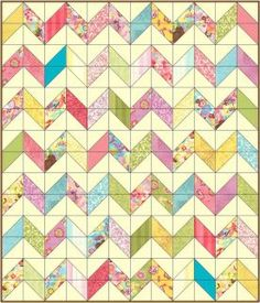 Modern Quilt. Gorgeous, simple chevron lines. Free pattern. Made from charm packs!