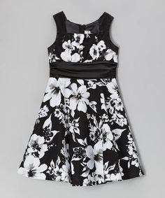 Take a look at this Black & Ivory Floral Emma Dress - Girls by Rare Editions on #zulily today!