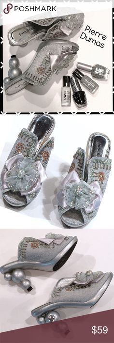 """PIERRE DUMAS Sexy Cinderella Heels - Sz 7 Very rare and unique night out sparkling silver open-toed high heels from Pierre Dumas, size 7.  Heel height is 4"""" and they are in excellent condition!! Pierre Dumas Shoes Heels"""