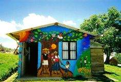 A house in the Zapatista Rebel's Sustainable Community within Oventic, Chiapas, Mexico