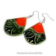 orange and green ceramic jewerlly , ethnic earrings Ceramic Jewelry, Ceramics, Drop Earrings, Orange, Green, Ethnic, Handmade, Sad, Etsy