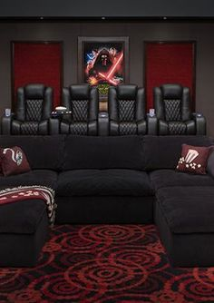 Incredible Star Wars Home Theater Room Star Wars Home Theater Room; Effortlessly made with four Seatcraft Diamante Home Theater Seats, one Seatcraft Heavenly Sofa, and a touch of decor. Movie Theater Rooms, Home Cinema Room, Home Theater Decor, Home Theater Seating, Home Theater Design, Theater Seats, Home Decor, Home Theatre Rooms, Movie Theater Basement