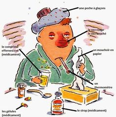 FLE/ Learning French. Vocabulary: I'm sick/ Je suis malade ! (A1/A2)