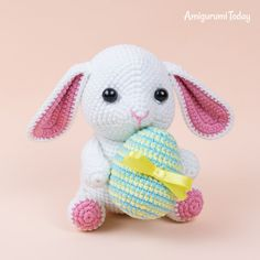 Amigurumi bunny with Easter egg – printable PDF Bunny with Easter egg crochet pattern Crochet Patterns Amigurumi, Amigurumi Doll, Crochet Dolls, Easter Bunny Crochet Pattern, Crochet Rabbit, Crochet Bear, Crochet Gratis, Free Crochet, Peacock Crochet
