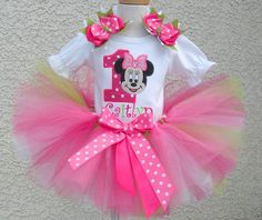 Pink Lime Minnie Mouse 1st Birthday Girls Tutu Outfit