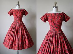 50s Dress Vintage 1950s Dress Red Gebera Daisy by jumblelaya