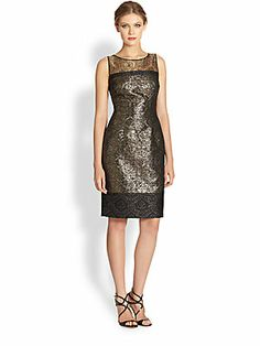 Carmen Marc Valvo Lace-Trimmed Brocade Cocktail Dress