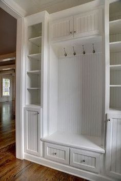 Love this build-in! It's smaller but does the job! #mudroom