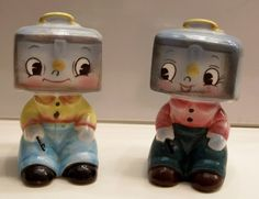 Vintage Anthropomorphic PY Cashbox Boys Salt & Pepper Shakers