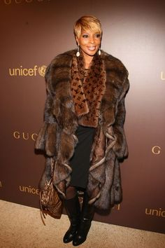 Mary J. Blige - Lunaraine mink coat with scalloped hem and Louis Vuitton mink scarf