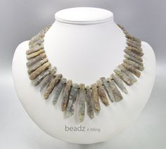 Kyanite Necklace Moss Green and Brown Stick by BeadzNBling on Etsy